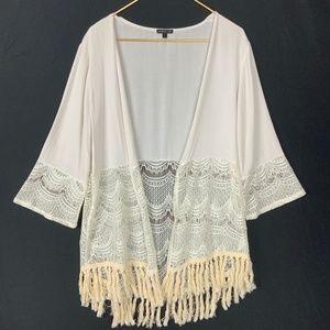 Boho Crochet Lace Tassel Open Cardigan Kimono L